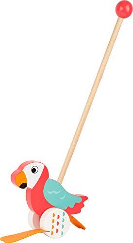 small foot 10475 Schiebetier Papagei 'Lori' aus Holz, hilft beim Laufenlernen und watschelt, ohne Altersbeschränkung