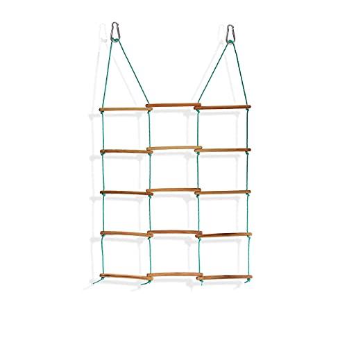 Spielturm, Dreiseitige Klettern Rahmen bis 60 kg, Spielhaus, Schaukel, Kinder Outdoor Kletterleiter mit 5 Sprossen, Klettergerüst, Indoor - Outdoor Strickleiter aus Holz, ab 3 Jahre