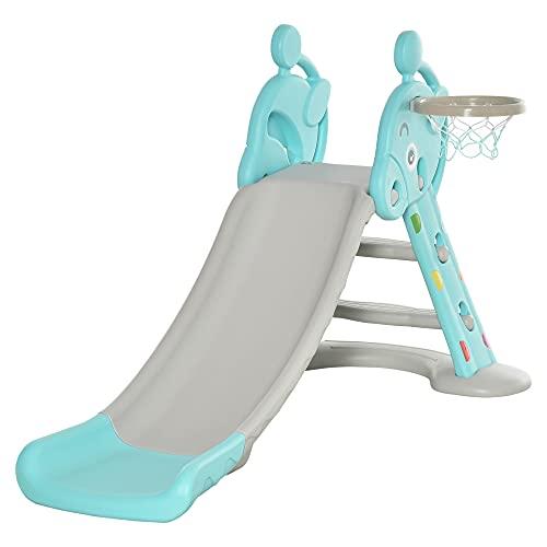 HOMCOM Kinderrutsche mit Basketballkorb faltbare Spielzeugrutsche mit verlängerter Heckkissen Dreiecksstruktur HDPE PP Hellblau+Grau 140 x 87 x 75 cm