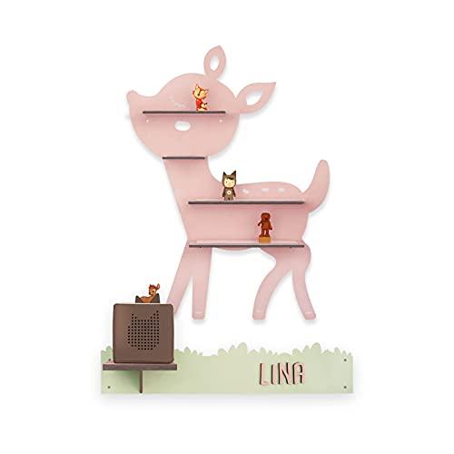 Kinder Regal'Rehkitz' passend für die Toniebox und ca. 30 Tonie Figuren – Wandregal für Kinder-Musikbox personalisiert mit Namen Aufbewahrung Hörspiele Musik Musikboxregal Reh hellomini