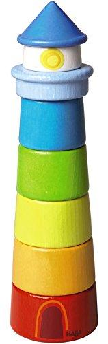 HABA 300170 - Stapelspiel Leuchtturm, Motorikspielzeug zum Sortieren von Größen und Farben, Holzspielzeug ab 12 Monaten