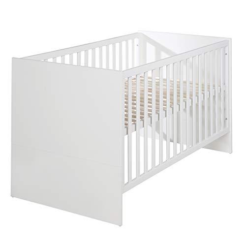 """roba Kombi-Kinderbett """"Maren"""", 70 x 140 cm, Babybett, weiß, mitwachsend, höhenverstellbar, 3 Schlupfsprossen, umbaubar zum Juniorbett"""