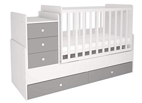 Polini Kids mitwachsendes Kombi-Kinderbett Gitterbett Babybett mit integrierter Wickelkommode und Wippfunktion in Weiß-Grau
