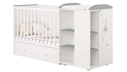 Mitwachsendes Babybett Kombi-Kinderbett in Weiß-Grau mit integrierter Wickelkommode, wandelbar zu einem Juniorbett für Kinder von 0 bis 16 Jahren