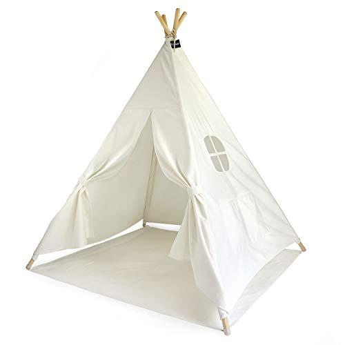 Hej Lønne Kinder Tipi, weißes Zelt, ca. 120 x 120 x 150 cm groß, Spielzelt mit Bodendecke und Fenster, inkl. Beutel und Anleitung, für drinnen und draußen, schadstofffrei