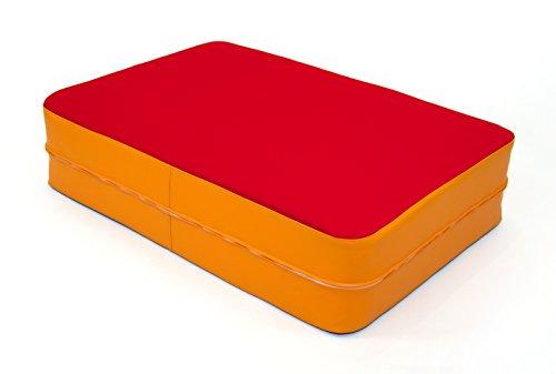 FLIXi Hüpfmatratze - ab 4 Jahre - Turn Matte für Kinder - Spiel Matratze zum Toben - Hüpfen - Balancieren – in Rot - Orange