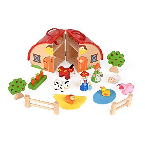 ewtshop® Bauernhof Farmerset für Kinder aus massivem Holz, bemalt zum Spielen