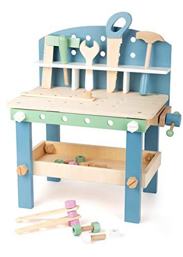 small Foot 11376 Werkbank 'Nordic' Kompakt aus Holz, Kinder Werkbank mit Werkzeug und Zubehör, ab 3 Jahren