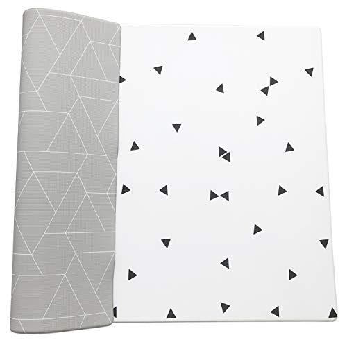 LITTLE Bot Ofie Mat, Weiche Babyspielmatte, beidseitig und ungiftig (Zen line + Triangl, Large)