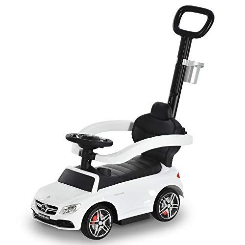 HOMCOM Rutschauto Rutscher Kinderauto von Mercedes Benz Kinderfahrzeug Schub- und Haltestange mit Rückenlehne/Schutzbügel, Lauflernhilfe für Babys 12-36 Monate (Weiß)