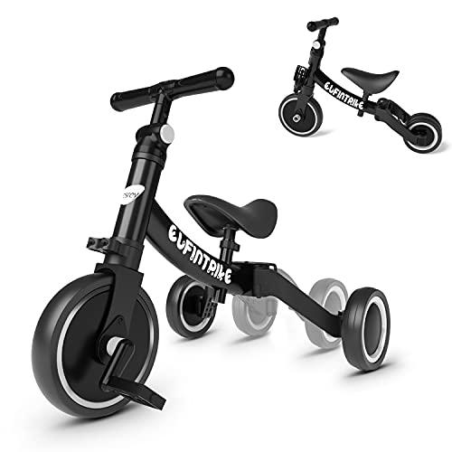 besrey 5 in 1 Laufräder Laufrad Kinderdreirad Dreirad Lauffahrrad Lauflernhilfe für Kinder ab 1 Jahre bis 4 Jahren - Schwarz