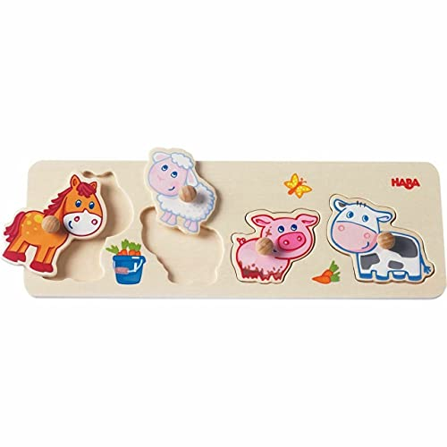 HABA 301939 - Greifpuzzle Bauernhof-Tierkinder, 4-teiliges Holzpuzzle mit Tiermotiven und großen Holzknöpfen zum Greifen, Holzspielzeug ab 12 Monaten