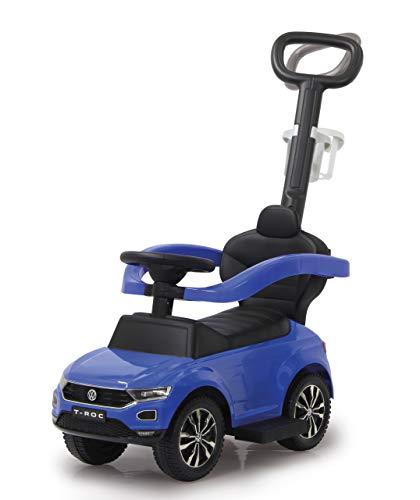 JAMARA 460462 - Rutscher VW T-ROC 3in1 - Kippschutz, Kofferraum, Schub-und Haltestange mit Lenkfunktion, Rückenlehne, seitlichen Schutzbügel, ausziehbare Fußauflage, Sound/Hupe am Lenkrad, blau