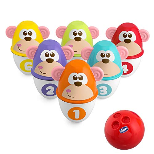 Chicco Monkey Strike Kids Bowling Set - Kegelspiel für Kinder mit 6 trennbaren Pins, stapelbar in 12 Teile, inklusive Kunststoffball - Kegelspielzeug, Geschenke für Kinder von 18 Monaten bis 8...