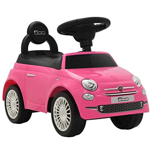 vidaXL Rutschauto FIAT 500 Rosa Kinderauto Kinderfahrzeug Rutscher Kinder Auto