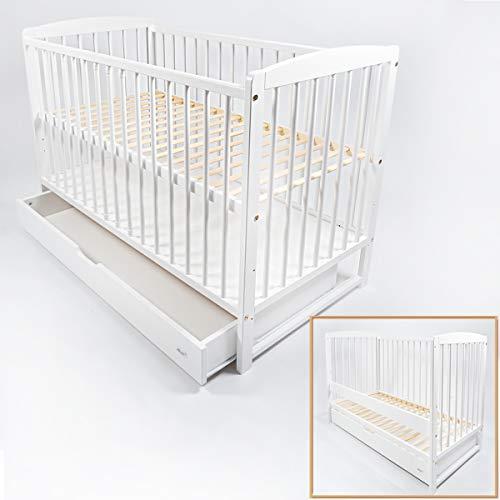 Alcube mitwachsendes Babybett 120x60 in weiß mit Schubladen als Set. Kinderbett als Gitterbett