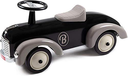 Baghera Rutschauto Speedster Schwarz   Rutschfahrzeug für Kinder - zahlreiche lebensechte Details   Retro Rutschauto für Kinder ab 1 Jahr
