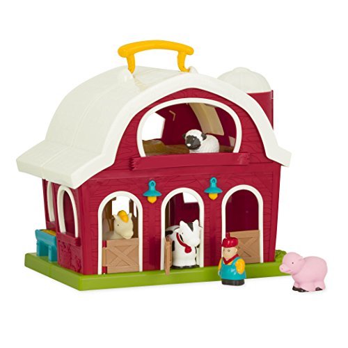 Battat Bauernhof Spielzeug – Große Scheune mit Bauernhoftiere Schwein, Pferd, Kuh, Schaf und Bauer – Set für Kinder ab 18 Monate (6 Teile)