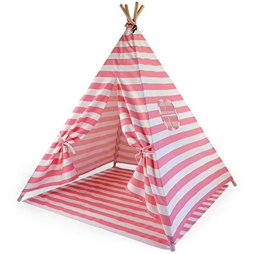 Hej Lønne Kinder Tipi, rosa weiß gestreiftes Zelt, ca. 120 x 120 x 150 cm groß, Spielzelt mit Bodendecke und Fenster, inkl. Beutel und Anleitung, für drinnen und draußen, schadstofffrei