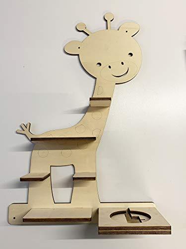DIY Regal Baby Giraffe für die Musikbox passend für Toniebox Kinder Baby Zimmer zum selbst bemalen mit Wunschname tolles individuelles Geschenk Geburtstag
