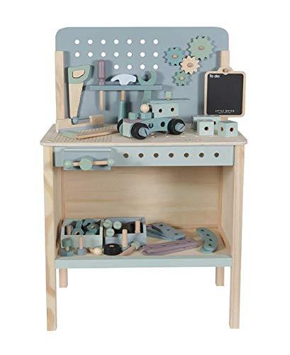 Little Dutch 4448 Holz Spielwerkbank mit Werkzeuggürtel und Zubehör blau mit