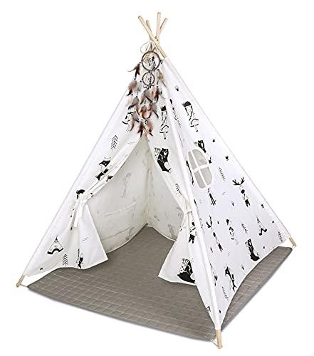 Hakuna Matte Tipi Zelt für Kinder – Stilvolles Spielzelt im skandinavischen Design mit Spielmatte, Traumfänger & Tragetasche – Kinderzelt besteht aus 100% Baumwolle und Kiefernholz,...