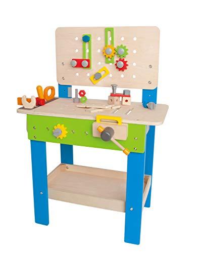 Hape Meister-Werkbank | Preisgekrönte Werkzeugbank für Kinder aus Holz Spielzeug Spiel kreatives Bauen, Höhenverstellbar 35-teilige Werkstatt für Kleinkinder
