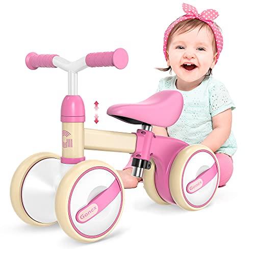 Gonex Kinder Laufrad 1 Jahr, Lauffahrrad Höhenverstellbar, Baby Laufrad 4 Räder Rutschrad Jungen Mädchen Geschenk für Kinder ab 10-36 Monate