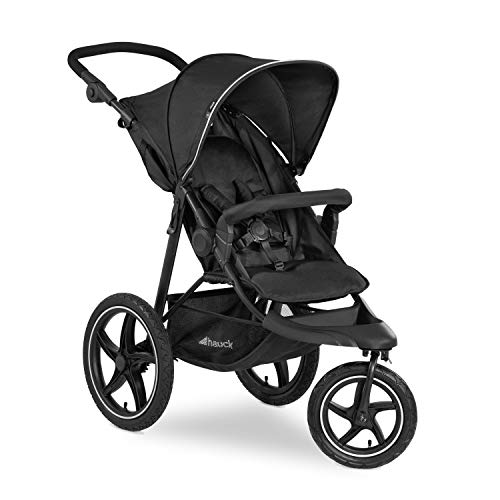 Hauck Pushchair Runner 2, All Terrain XL Air Wheels, Up to 25 kg, Sun Canopy UPF 50 +, Ventilation Window, Fully Reclining, Height Adjustable, Large Shopping Basket, Black