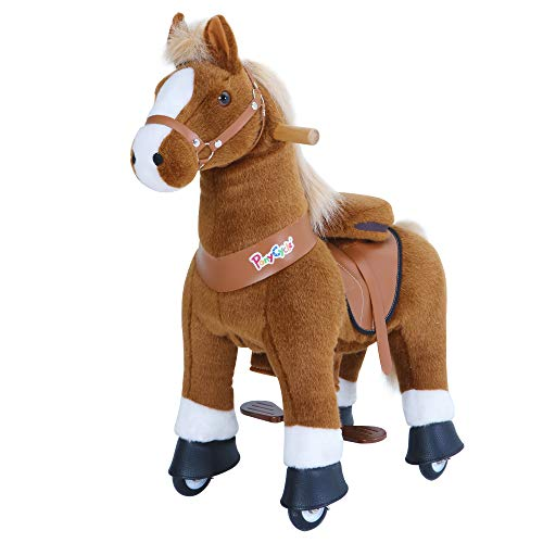 PonyCycle Offizielle Klassisch Modell U Reiten auf Pferd Spielzeug Plüsch Lauftier Braunes Pferd mit Bremse und Ton für 3-5 Jahre Ux324