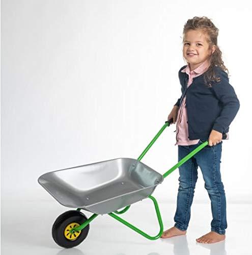 OA Rolly Toys Metallschubkarre silber/grün Kinderschubkarre (für Kinder ab 2 Jahre, Metallschüssel, belastbar bis 25 kg, Kunststoffgriffe)