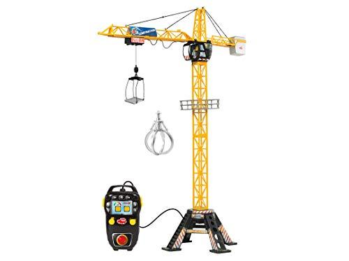 DICKIE 201139012 Toys Mega Crane, elektrischer Kran mit Fernbedienung, für Kinder ab 3 Jahren, 120 cm hoch, mit Greifarm, Seilwinde, Kabine, Ladeplattform