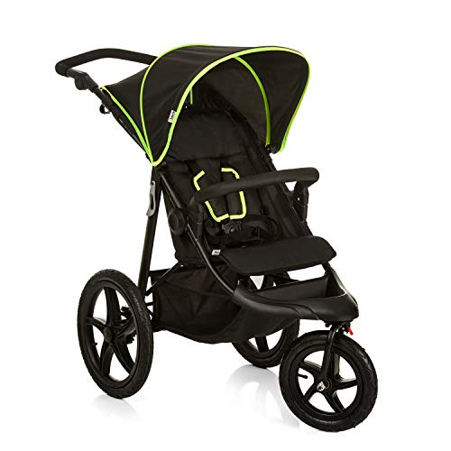Hauck Pushchair Runner, XL Air Wheels, All Terrain, Up to 25 kg, Sun Canopy, Fully Reclining, Height Adjustable, Large Shopping Basket, Black Neon Yellow