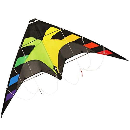 CIM Lenkdrachen - Spider Rainbow - für Kinder ab 8 Jahren - Abmessung: 145x78cm - inkl. Steuerleinen mit Gurtschlaufen (Rainbow)*