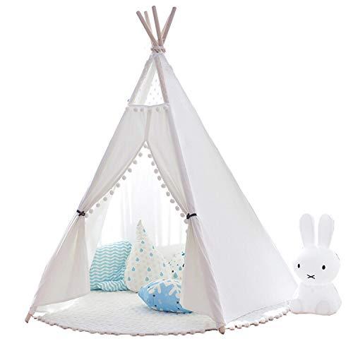 little dove Tipi Spielzelt für Kinder Natürliches Baumwollsegeltuch,Kinderzelt, Spielhaus, mit Matte
