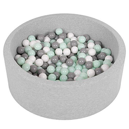 SELONIS Bällebad Bällepool Für Baby Kinder 90X30cm/200 Bälle Rund, Hellgrau: Weiß/Grau/Minze