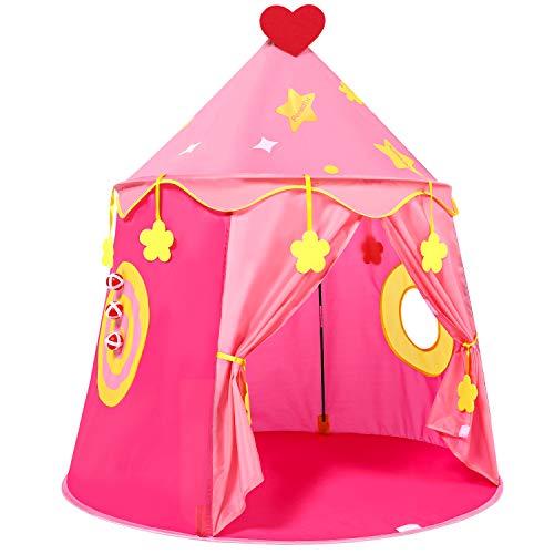 Peradix Spielzelt Prinzenschloss Zelt für Jungs Kleinkinder Pop-up Indianerzelt mit Tragetasche, Geschenk für Kinder Zuhause & im Garten (Rosa)