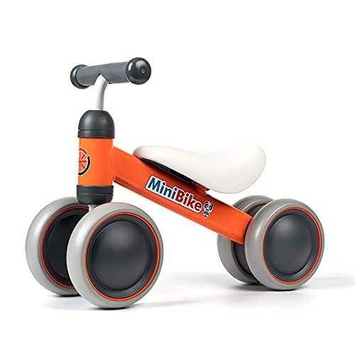 Kinder Laufrad ab 1 Jahr   Spielzeug Lauflernrad mit 4 Räder für 10 - 24 Monate Baby, Erst Rutschrad Fahrrad für Jungen/Mädchen als Geschenke Orange