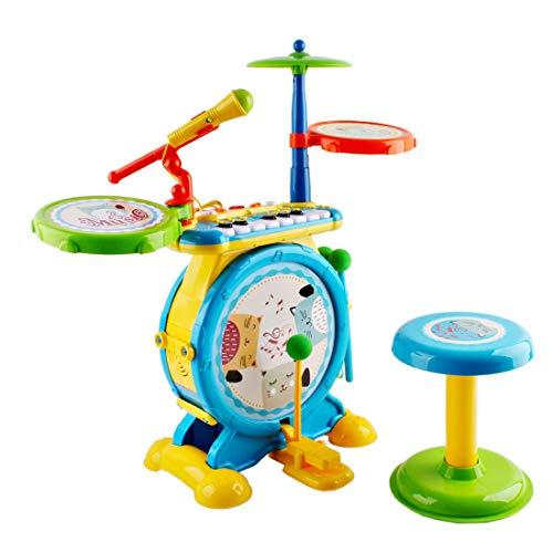 deAO Elektronisches Kinder Rock n Roll Musikspielset mit Mikrofon, Hocker und MP3 Funktion Spielzeug für Jungen und Mädchen