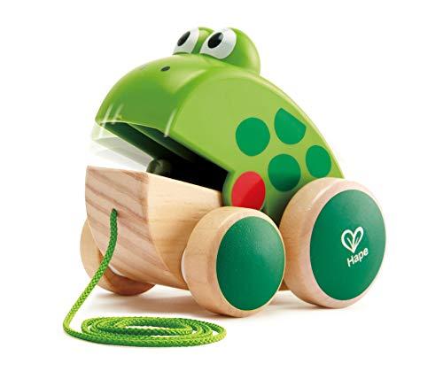 Hape Nachziehfrosch Fridolin von Hape   Holzfrosch Fliegen fressendes Nachzieh-Spielzeug für Kleinkinder, leuchtende Farben