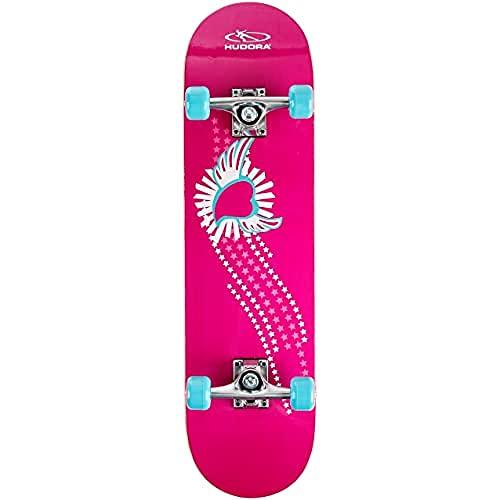 HUDORA Skateboard Mädchen Skate Wonders ABEC 3 mit Rucksack, 12172