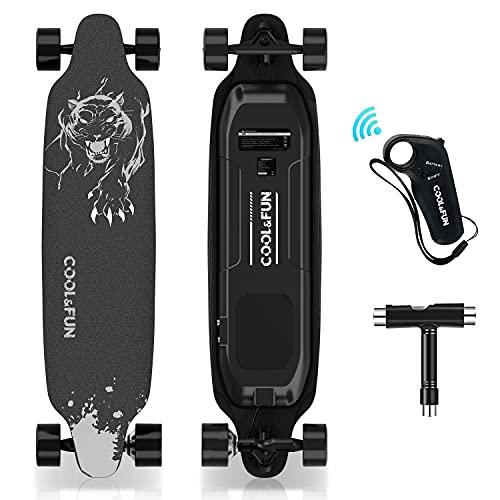 HOVERMAX Elektro Skateboard, 35,4x9 Zoll Elektrisches Longboard-Skateboard mit Fernbedienung, Geeignet für Erwachsene, Jugendliche und Anfänger, 400W Brushless-Motor, 11-Stöckiges Ahorndeck,...