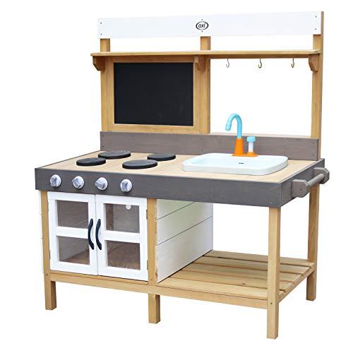AXI Rosa Spielküche / Matschküche aus Holz   Multifunktionelle Spielzeugküche / Sandküche für Kinder mit 17 teiligem Zubehör Set   50x115x120 cm