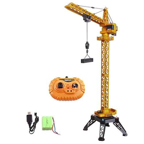 deAO RC Bauturm-Kran, 12 Kanäle, funkgesteuertes Modell, Druckguss, unbegrenzte Rotation, Lichter und Geräusche, 122 cm hoch