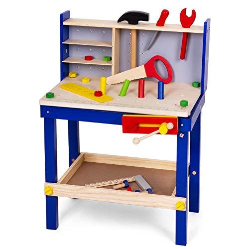Leo & Emma - Kinderwerkbank mit Werkzeug aus Holz, Blau lackiert, 50tlg, Werkbank für Kinder aus Holz, Holzwerkbank für Kinder, Hochwertig hergestellt und lackiert