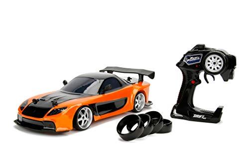 Jada Toys Fast & Furious RC Drift Mazda RX-7, RC Auto, ferngesteuertes Auto mit Funkfernsteuerung, Driftfunktion, Allradantrieb, 4 Ersatzreifen, USB Ladefunktion, inkl. Batterien, Maßstab 1:10,...