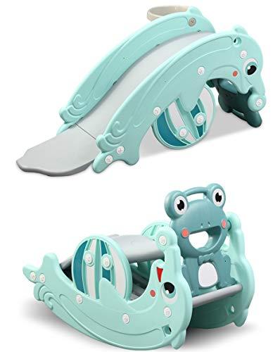 CLAMARO 'Delphin' 2in1 Kinder Rutsche und Wippe Kombination, Schaukeltier einfach umdrehen und aus der Wippe Wird eine Kinderrutsche für drinnen und draußen (ohne Umbau) - inkl. Basketballkorb -...