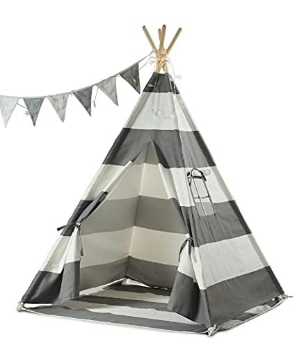 Haus Projekt Tipi-Zelt für Kinder mit Lichterkette, Wimpelkette, Aufbewahrungstasche & Bodenmatte – Tipi Kinderzelt, Kinderzimmer Spielzelt 100% Baumwoll, drinnen/draußen, 160cm hoch,...