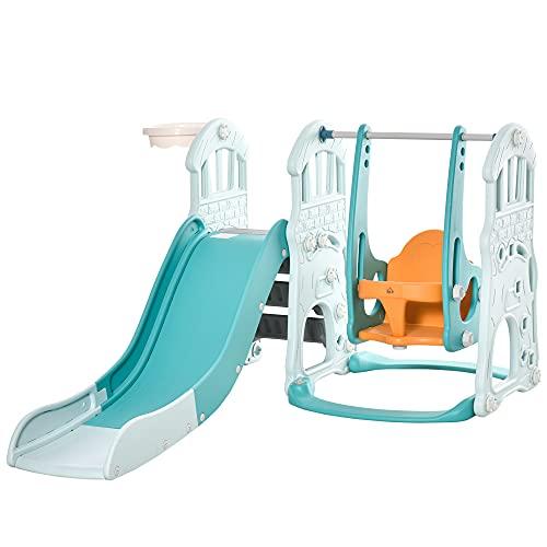 HOMCOM 3 in 1 Kinderrutsche Kinderschaukel Set Spielturm für Kinder 18 bis 48 Monaten Kinder Spielplatz mit Basketballkorb HDPE PP Blaugrün+Gelb 149 x 186 x 98 cm