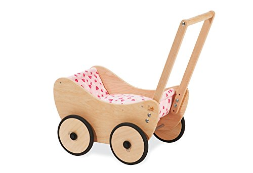 Pinolino Puppenwagen Trixi, aus Holz, inkl. Bettzeug und Bremssystem, Lauflernhilfe mit gummierten Holzrädern, für Kinder von 1 – 6 Jahren, natur